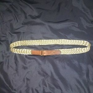 New J. Crew Gold Braided Belt with Leather Accents